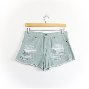 pastel green denim distressed high waist shorts